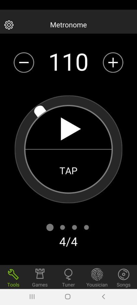 modern metronome screenshot taken of guitartuna app which has a built in metronome